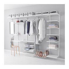 ALGOT 벽고정대/선반/3단후크 IKEA ALGOT/알고트 벽고정대에 브래킷을 끼우기만 하면 별도의 도구 없이도 선반이나 구성품 등을 설치할 수 있습니다. 욕실 등의 습기가 많은 곳에서도 사용할 수 있습니다.
