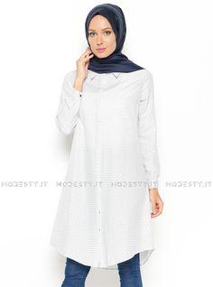 islamische kleidung fuer frauen mymodestystyle.com besuchen sie unsere shop #hijab #abayas #tuekische kleider #abendleider #islamischekleidung  Daisy Patterned Tunic - Ecru - Allday - <p>Fabric Info:</p> <p>100% Cotton</p> <br> <p>Weight: 0.204 kg</p> <p>Measures of 38 size:</p> <p>Height: 96 cm</p> <p>Bust: 100 cm</p> <p>Waist: 96 cm</p> <p>Skirt Width: 116 cm</p> - SKU: 213517. Buy now at http://muslimas-shop.com/daisy-patterned-tunic-ecru-allday.html