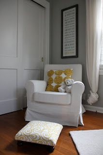 IKEA chair turned into a swivel rocker! Love the white & it's a slipcover so it can be taken off and WASHED! $199 for the chair + ~$85 for the swivel mechanism.  Lots less $$ than the gliders & a smaller size.