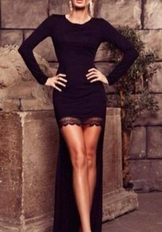Black Patchwork Lace Irregular Round Neck Floor Length Maxi Dress