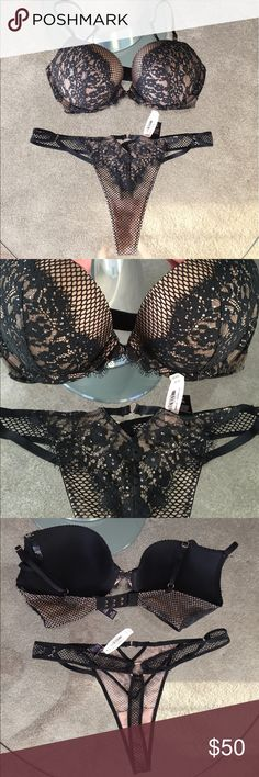 """❤️""""Very Sexy"""" Matching Push-Up Bra & Thong Set!❤️ Brand new with tags!❤️Sexy Black and Tan Push-Up  Bra size 32D with black floral lace, mesh & rhinestones, adjustable straps! Matching thong size Medium, sexy rhinestones, mesh and floral lace, very sexy!❤️Retail value 98! Victoria's Secret Intimates & Sleepwear Bras"""