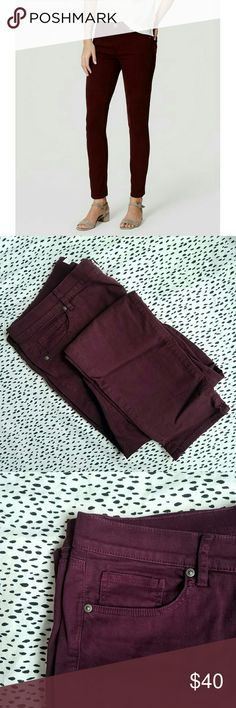 """*NEW* Maroon LOFT Skinny Jeans Awesome LOFT Modern-cut skinny jeans in a beautiful rich maroon/burgundy color (technically it's """"dark plum kiss"""").   Size 32/14, but on the looser side and may fit a 33/16 (plus they have some stretch).  *Never worn* except to try on! I purchased these new and foolishly washed them (cold gentle cycle, lay flat dry) before trying them on, not realizing my clothing size has changed. My error is your gain! LOFT Jeans Skinny"""