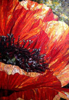 "Large poppy glass mosaic Indiana backsplash 51"" x 36"""
