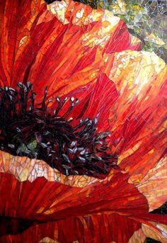 """Large poppy glass mosaic Indiana backsplash 51"""" x 36"""""""