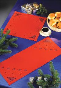 Christmas Red Hardanger Table Runner - (KIT#633675) - Click Image to Close