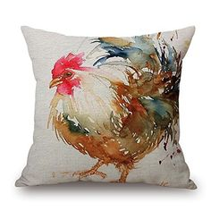 Watercolor Rooster Art Colorful Chicken pillow