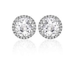 White topaz and diamond studd earrings