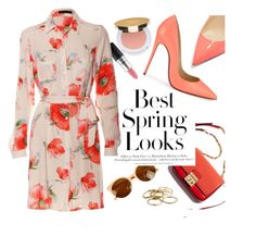 """""""Feeling Spring"""" by luvsassyselfie ❤ liked on Polyvore featuring MAC Cosmetics, H&M, Isaac Mizrahi, Christian Louboutin, Kendra Scott, Spring, red and rose"""