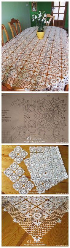 Super Ideas For Crochet Lace Square Motif Ganchillo Crochet Chart, Thread Crochet, Filet Crochet, Crochet Motif, Crochet Designs, Crochet Doilies, Crochet Flowers, Crochet Stitches, Crochet Table Runner
