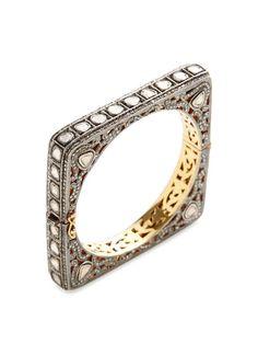 Diamond Slice Triangular Bangle Bracelet by Amrapali at Gilt