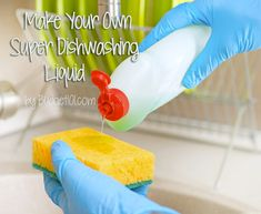 Making your own Dishwashing liquid is surprisingly easy and uses few ingredients. (Click on photo for more)