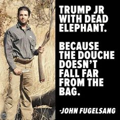 Trump Jr. with dead elephant, because the douche doesn't fall far from the bag. - I love JF