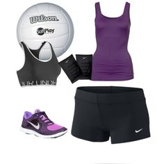 Purple and black volleyball outfit
