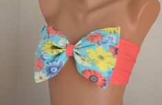 PADDED ..THINER BACK. Coral floral bow bandeau bikini top with removable neck strap-Bow bikini top-Bow bandeau bikini-Women's swimwear