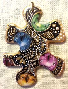 Hand Painted Porcelain Jeweled Puzzle by PorcelainArtbyCatari, $125.00