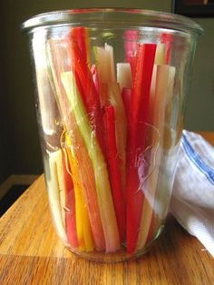 Pickled Swiss Chard stems -- In case you have been wondering (as we have) what to do with those chard and kale stems you hate to throw away or relegate to the compost. Spicy Refrigerator Pickles, Minneapolis Restaurants, Swiss Chard Recipes, Rainbow Chard Recipes, Rainbow Swiss Chard Recipe, Veggie Recipes, Healthy Recipes, Fruits And Veggies, Sauces
