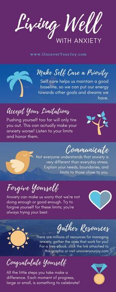 Living well with anxiety is not always easy. This infographic lists six key techniques to live the best life possible. Inspiration | Mental Illness | Coping with Anxiety
