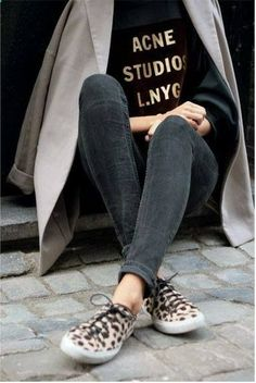 graphic t-shirt, and cheetah shoes