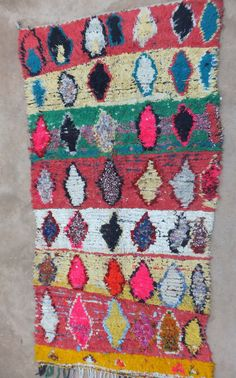 Vintage Moroccan Boucherouite Rug Contemporary Modern Wall Art Painting Tapestry Tribal 4'5 x 8 FT 11