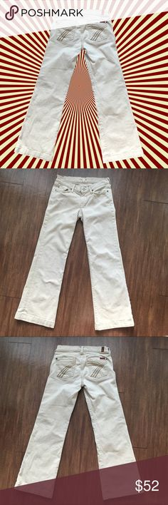 """7 FOR ALL MANKIND """"Dojo"""" Sz 26 inseam 26.5 Cream cream/tan colored dojo jeans by 7 for all mankind with light distressing 7 For All Mankind Jeans Flare & Wide Leg"""