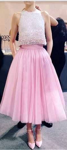 2016 Pink Graduation Dresses Beaded Collar A-Line Two Pieces Pleats Crystal Beading Jewel Neck Prom Cocktail Gown Formal Homecoming Gowns