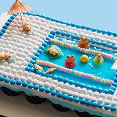 Pull-Apart Pool Cupcake Cake By Food Network Kitchen Pool Cupcakes, Pool Party Cakes, Pool Cake, Cupcake Party, Cupcake Cakes, Cupcake Mix, Pull Apart Cupcake Cake, Pull Apart Cake, Birthday Parties