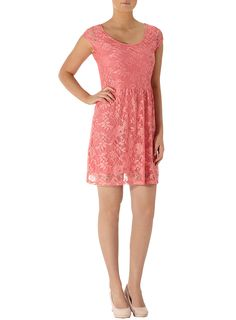Dorothy Perkins Coral short sleeve lace dress  44.00 a51261fbc9a8