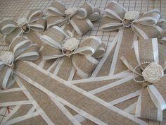 Burlap and Satin Bows Burlap Wedding Aisle Decor by OneFunDay