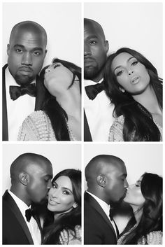 Kim Kardashian & Kanye West In Their Black & White Wedding Photo Booth Photos