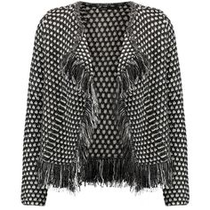 Maje - Metallic Fringed Woven Cardigan ($218) ❤ liked on Polyvore featuring tops, cardigans, charcoal, metallic cardigan, open front cardigan, metallic top, leather top and cardigan top