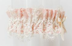 The Blush Pink Sweetheart wedding garter, available from www.lagartier.com