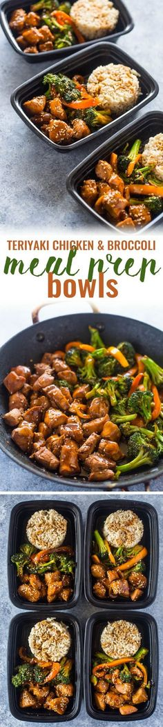 Teriyaki Chicken and Broccoli -- quick teriyaki chicken and broccoli meal prep bowls make a tasty healthy lunch for the entire work week in under 20 minutes!