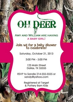 For Mom's Birthday Party! - OH DEER Real Tree Camo Baby Shower Invitation by OliviaKateDesigns