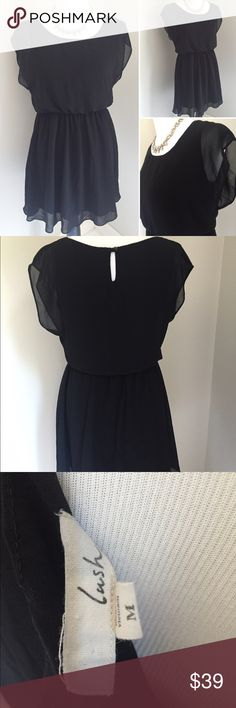 """Lush Black Dress Super cute LBD by Lush. Flowy fit, cinched waist, keyhole back and flutter sleeves. Comfort meets style in this dress! Very light and perfect for summer. Dress it up or down! 100% Polyester, fully lined. Size Medium 19"""" underarm to underarm and 33"""" length. Lush Dresses"""