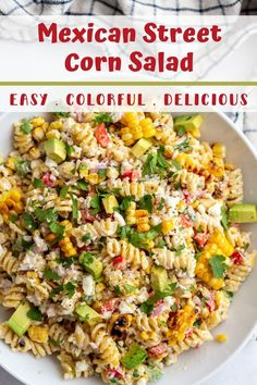 If you're a fan of Classic Mexican Street Corn then you're going to LOVE this fun twist in the form Mexican Street Corn PASTA SALAD! Corn Pasta Salad Recipe, Veggie Pasta, Healthy Pasta Recipes, Healthy Pastas, Veggie Recipes, Vegetarian Recipes, Grilling Recipes, Side Dish Recipes, Dinner Recipes