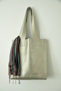 Metallic Pewter Leather Tote. I have been coveting this for a long time.