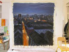 Nuit, 190x190cm, acrylique sur toile.