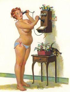 ! Hilda calling on old fashioned phone