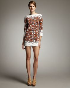Diane von Furstenberg  Ruri Chain-Print Silk Dress