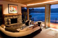 Beautiful family room with another amazing view