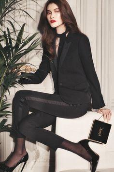 Suiting up, Sui He wears Saint Laurent blazer, pants, pumps, scarf and bag