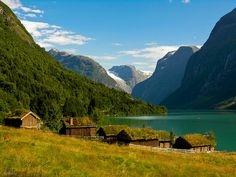 Houses on the shores of Lake Loen, Norway! By M. Molde.  (Norway, a dream from when I was a child! Will I ever get there!)