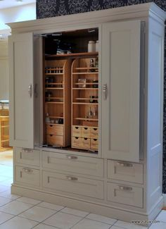 J Very Large Heritage Custom Larder Cupboard with In Frame Doors folding doors could be a good idea Kitchen Pantry Cupboard, Barn Kitchen, Old Kitchen, Kitchen Cupboards, Country Kitchen, Kitchen Storage, Locker Storage, Kitchen Unit, Cupboard Ideas