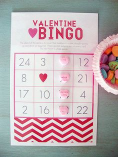 valentine bingo | free printable. Perhaps the winner could do something special, or romantic for the other.