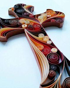 """Quilled Paper Art: """"Cross"""" - Handmade Artwork - Paper Wall Art - Home Decor - Wall Decor - Home Decoration - Quilled Art"""