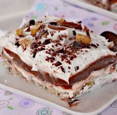 Mississippi Mud Pie is sensational! This luscious dessert has a nutty crust, a cream cheese layer, then a chocolate pudding layer, topped with Cool Whip, a