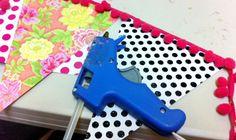No Sew DIY Bunting Flags using scrapbook paper and  pom-pom trim ribbon