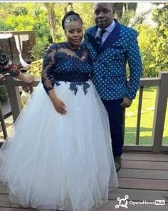 African Wear, African Dress, African Fashion, White Wedding Gowns, Blue Wedding Dresses, Beautiful Bride, Beautiful Outfits, South African Traditional Dresses, African Wedding Theme