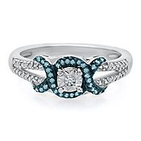 1/8 ct. tw. Blue & White Diamond Promise Ring in Sterling Silver