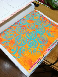 2014 Art Journal prep, Lucy's Lampshade Blog - I love that gelli printed insert I put in!